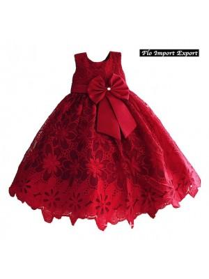 Vestito Bambina Abito Traforato Principessa Cerimonia DGZF024