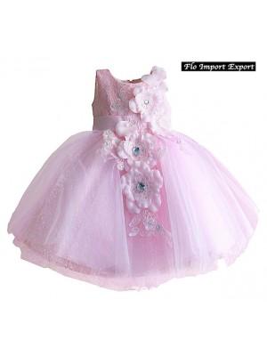 Vestito Bambina Abito Fiori Tulle Principessa Cerimonia DGZF026