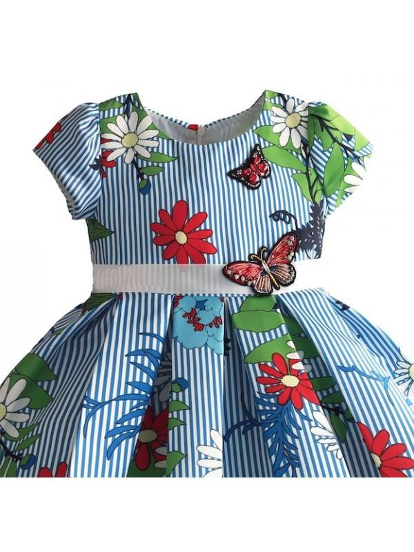 0e6eba3b1787 Vestito Elegante Cerimonia Abito Bambina Righe e Fiori DGZF039