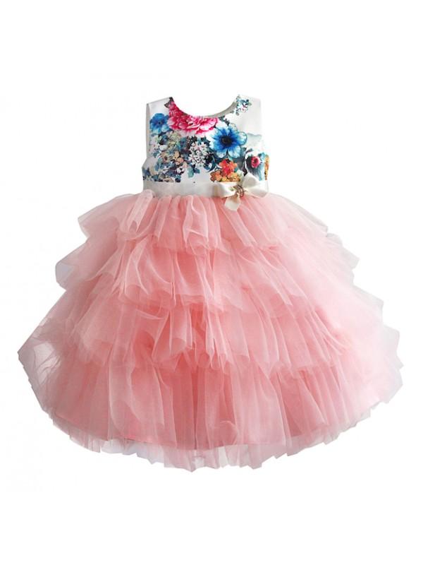 buy popular c525a c6f23 Vestito Elegante Cerimonia Abito Bambina Tulle Rosa DGZF041