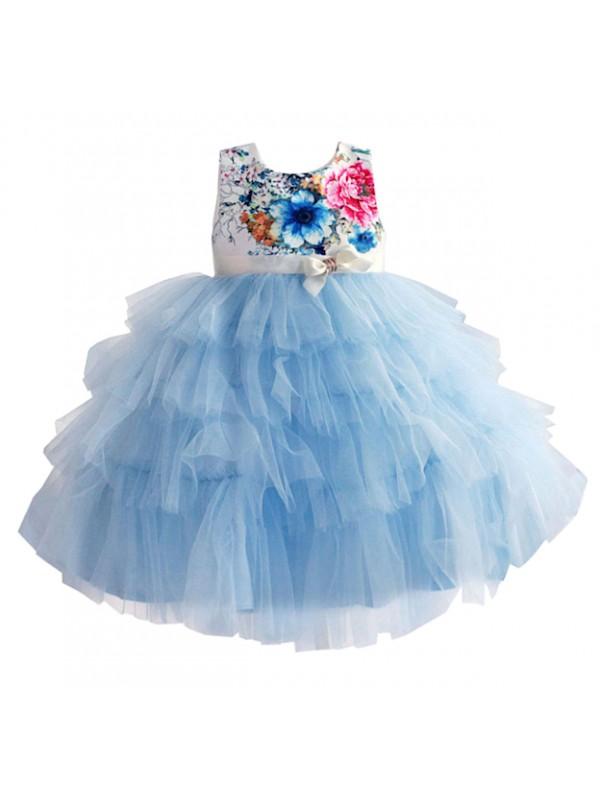 Vestiti Eleganti Azzurri.Vestito Elegante Cerimonia Abito Bambina Tulle Azzurro Dgzf042