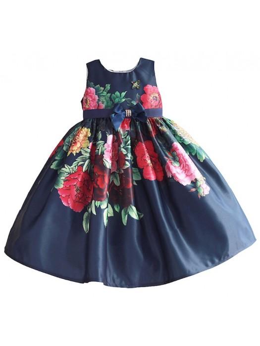 online retailer fbde6 28eef Vestito Cerimonia Abito Bambina Compleanno Stampa Fiori DGZF052