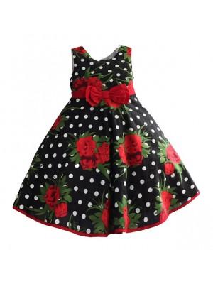 Vestito Bambina Compleanno Cerimonia Rose Rosse Pois DGZF061
