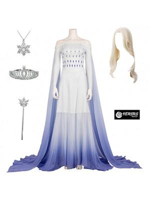 Frozen 2 pz Elsa Vestito Bianco Costume Carnevale Donna FROWOM08