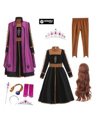 Simil Frozen Anna 2 Vestito Carnevale Cosplay FROZ013