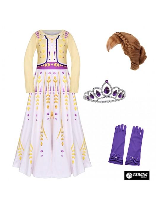 Simil Frozen Anna 2 Vestito Carnevale Cosplay FROZ015