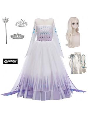 Simil Frozen 2 Veli Vestito Carnevale Elsa Bianco FROZ052