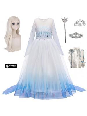 Simil Frozen 2 Veli Vestito Carnevale Elsa Bianco FROZ053