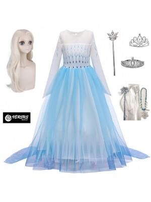 Simil Frozen 2 Veli Vestito Carnevale Elsa Bianco FROZ054
