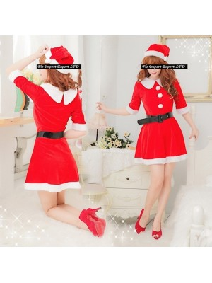Vestiti Donna Costume Babbo Natale Cosplay Hostess HOS022