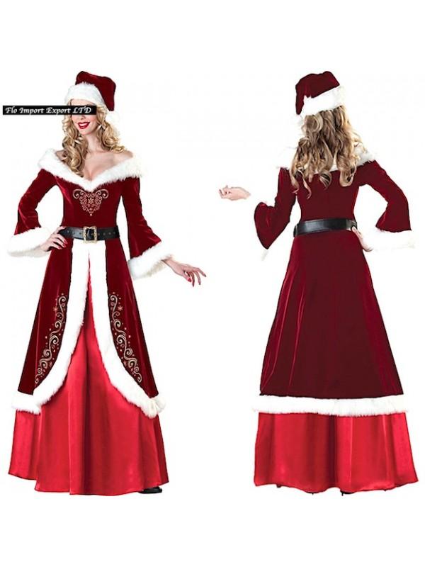 Hos030 Babbo Hostess Natale Donna Costume Vestito troQxBsdhC