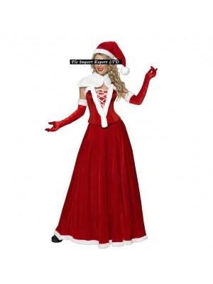 Vestito Donna Costume Babbo Natale Cosplay Hostess HOS033