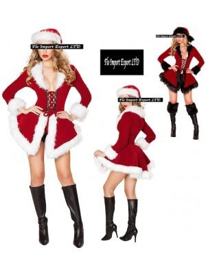 Giacca Cappello Donna Costume Babbo Natale Hostess HOS034
