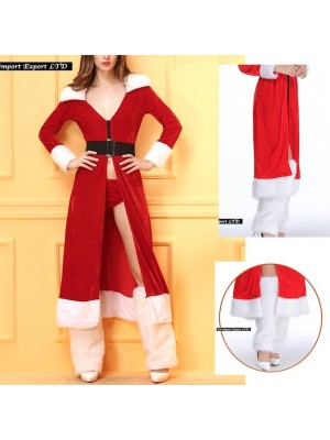 Giacca Lunga Donna Costume Babbo Natale HOS041