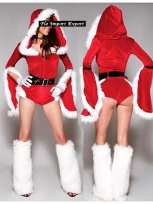 Vestiti Donna Costume Tutina Babbo Natale Cosplay Hostess HOS044