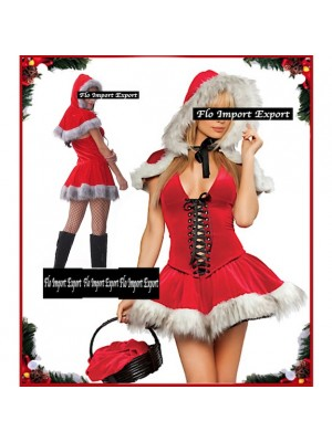 Vestito Costume Babbo Natale Donna Cosplay Hostess HOS048