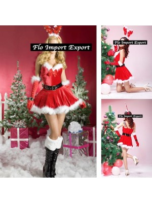 Vestito Costume Babbo Natale Donna Cosplay Hostess HOS049