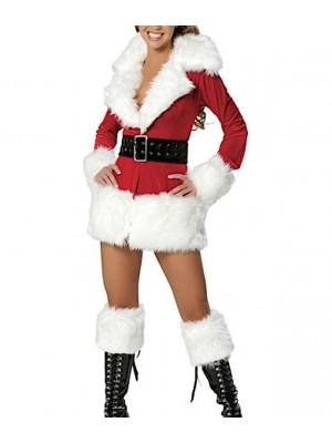 Mini Vestito Giacca Donna Babbo Natale Cosplay Hostess HOS056