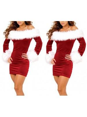 Mini Vestito Donna Babbo Natale Cosplay Hostess HOS057