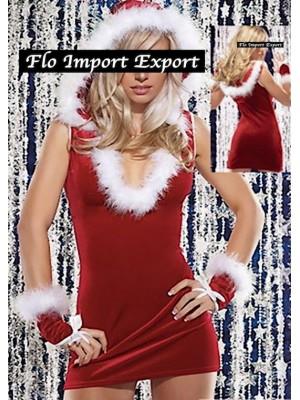 Mini Vestito Donna Babbo Natale Cosplay Hostess HOS058