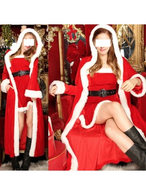 Vestito Donna Costume Babbo Natale Cosplay Hostess HOS062