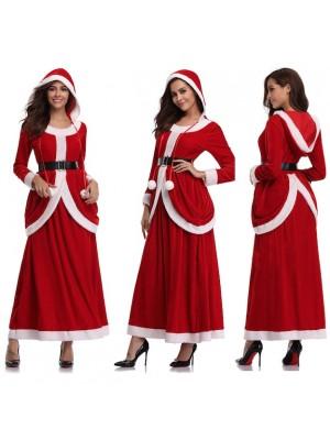 Vestito Donna Costume Babbo Natale Cosplay Hostess HOS063