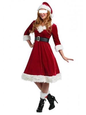 Vestito Donna Costume Babbo Natale Cosplay Hostess HOS064
