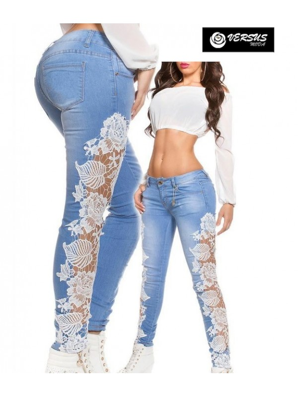 Jeans Pantaloni Donna con Pizzo JEA001D