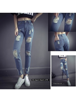 Jeans Pantaloni Donna Tagliati Strappati JEA003