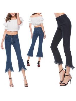 Jeans Donna Pantaloni Alla Caviglia Zampa  JEA011
