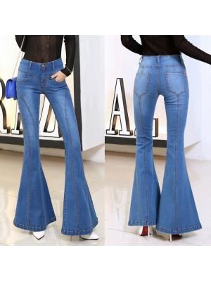 Jeans Donna Pantaloni a Zampa Larghi Sotto JEA012