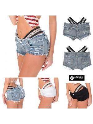 Mini Pantaloncini Jeans con Elastico Alto Donna JEA017