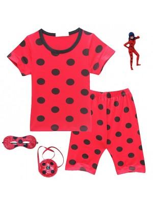 Simil Ladybug Maglia Pantaloncino Comodi Bambina LBSET02
