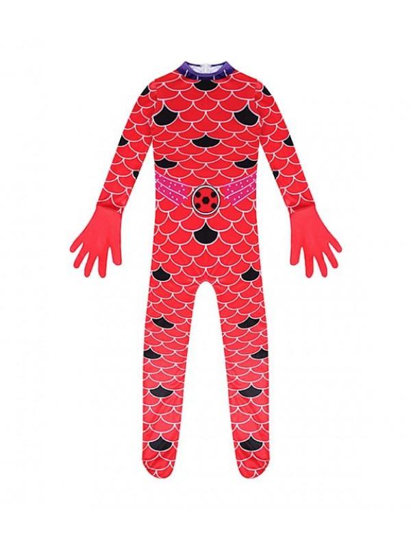 Simil Ladybug Acqua Vestito Tuta Carnevale Donna Bimba Cosplay LBUG09