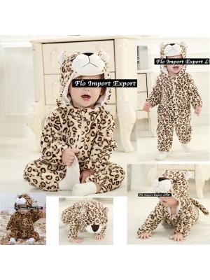 Leopardo Costume Carnevale Calda Tuta Pile LEOP02