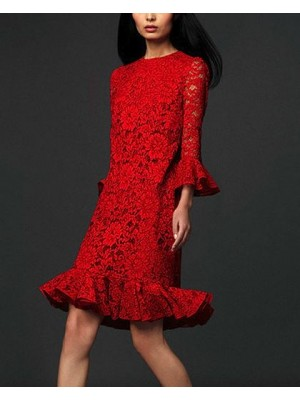 Vestito Rosso Donna Pizzo Manica Lunga OB14519