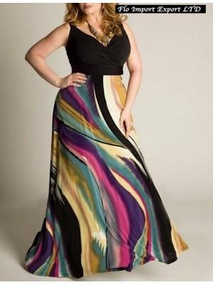 Vestito Donna Lungo Multicolore Taglie Grandi OS120019