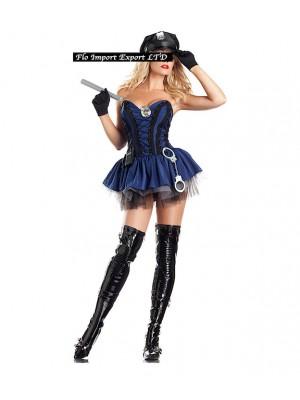 Poliziotta Gonna Tulle Carnevale Donna  POLW03