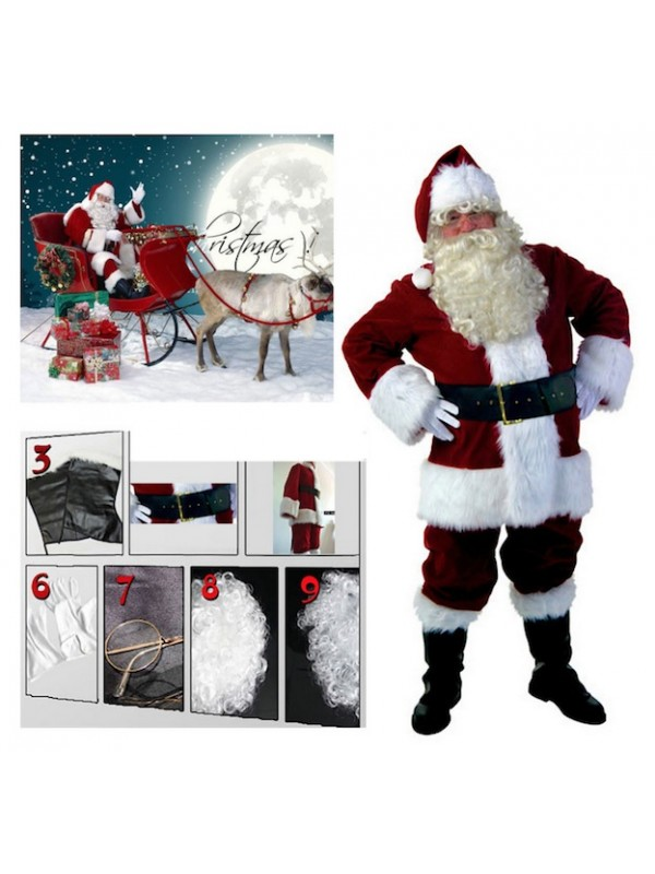 Abito Babbo Natale.Vestito Costume Babbo Natale Deluxe Santc03