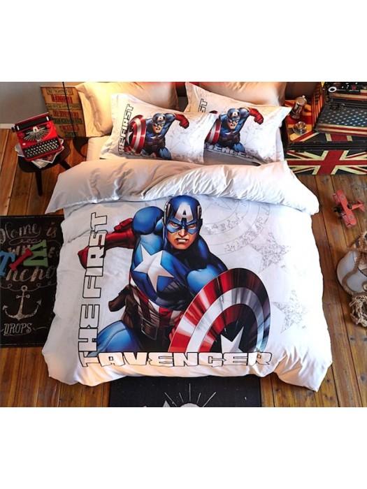 Capitan America Set Copri Piumino Copripiumone Lenzuolo SERDU02