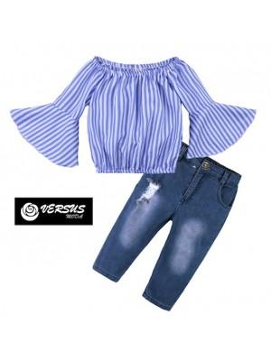 Maglia Top Manica Larga Bambina e Jeans Strappato SETCH10