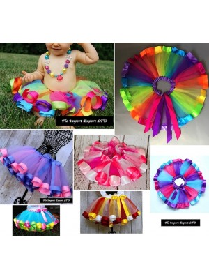 Gonna Tutù Tulle Compleanno Strisce Colorate Bambina SKIR004-9B