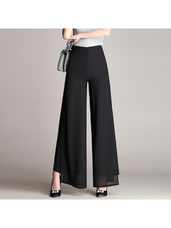 Pantaloni Donna Larghi Leggeri Doppio Velo Eleganti TRA028