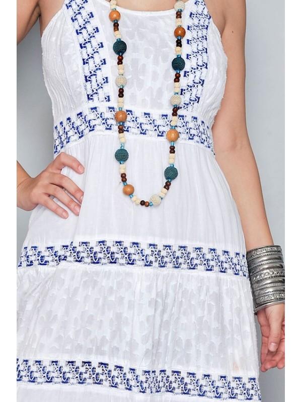 Vestito Donna Lungo Etnico Inserti in Pizzo VM18240